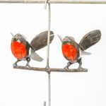 METAL ROBIN HANGING BIRD FEEDER COUPLE