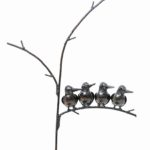 METAL NATURAL BABY KINGFISHER ON TREE FAM OF 4