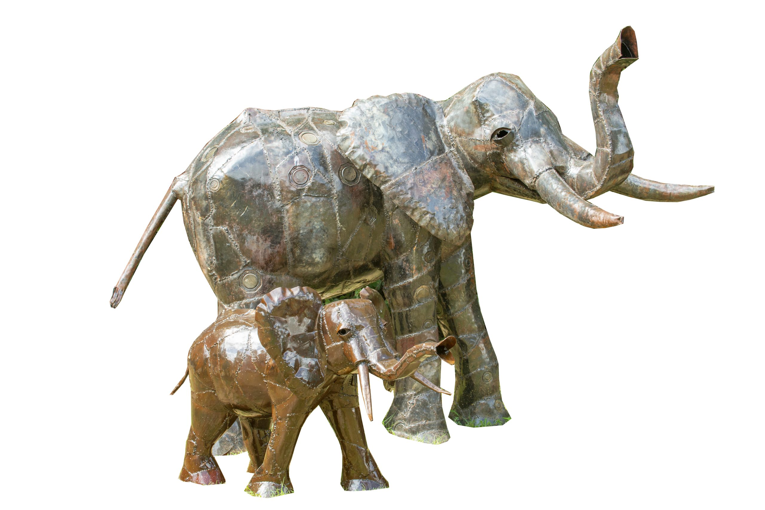 METAL MIDSIZE ELEPHANT AND BABY